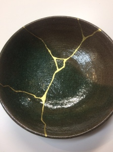 Kintsugi Drawing- Plate with artificial gold ($130)